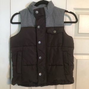 OLD NAVY Small 6/7 Black Gray Puffer Heritage Vest